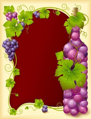 왕관과 와인 잔과 포도 프레임