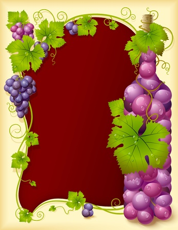 wine vineyards: Grape frame with crown and wine glass