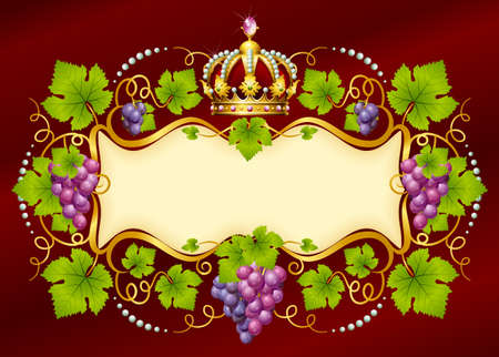 Vector grape frame with crown Stock Vector - 13483539