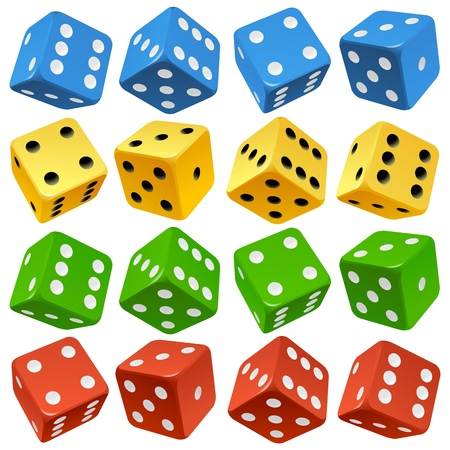 rolling: Game dice set  Vector red, yellow, green and blue icons