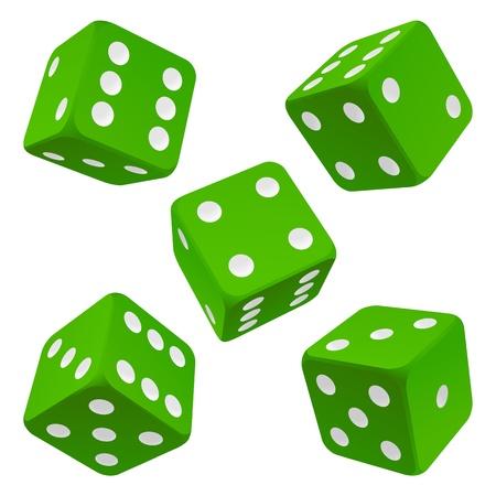 kostky: Zelené kostky set vector icon