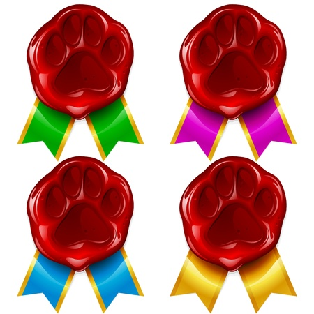 pet store: Dog or cat paw wax seal and color ribbon
