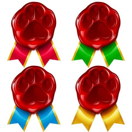 개 또는 고양이 발 왁 스 물개와 색상의 리본 일러스트