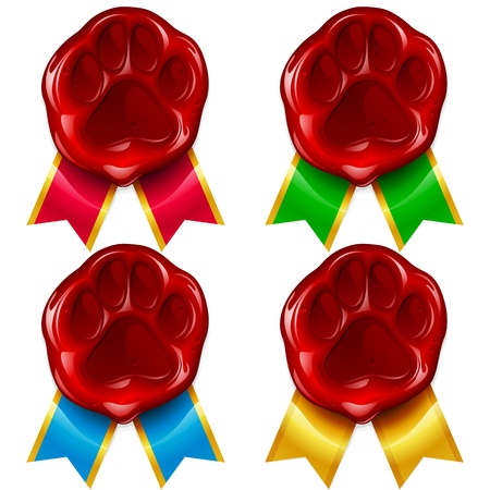 Hond of kat poot lakzegel en kleur lint Stockfoto - 13643294