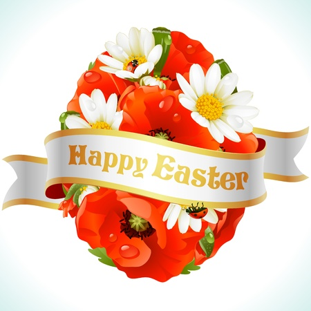 Vector Easter egg from flowers of camomiles and poppies Vector