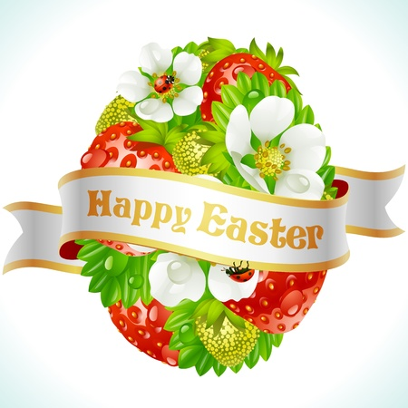 Vector Easter egg from strawberry and flowers Vector