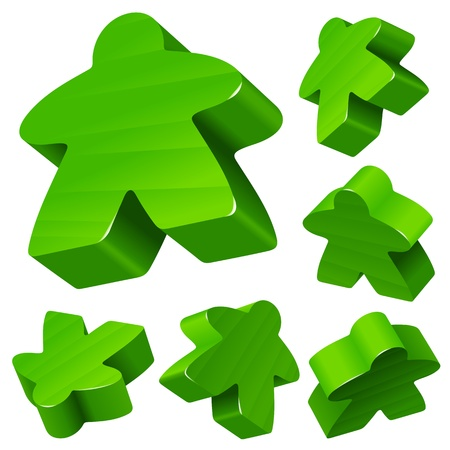leisure games: Green wooden Meeple vector set isolated on white  Symbol of family board games