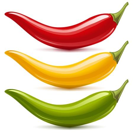 Hot Chili Vektor-Set auf weißem Hintergrund rot, gelb und grün isoliert