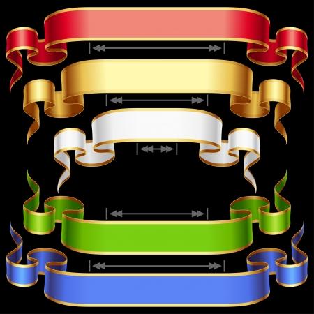 flechas curvas: Conjunto de la cinta con el ajuste de longitud del vector rojo, dorado, marco azul, verde y blanco sobre fondo