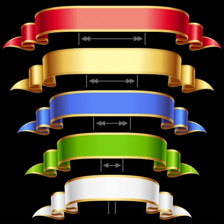 heading: Ribbon set with adjusting length  Vector red, golden, blue, green and white frame isolated on background