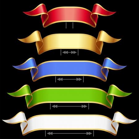 krökt: Ribbon set med justering längd vektor röd, guld, blå, grön och vit ram, isolerat, bakgrund