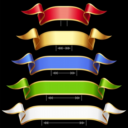 adjust: Ribbon set with adjusting length  Vector red, golden, blue, green and white frame isolated on background