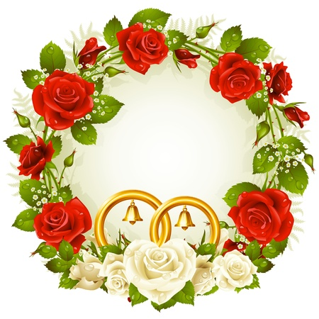 letter memo: Flower frame  Vector white and red rose with golden wedding rings isolated on white background