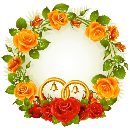 Flower frame  Vector orange and red rose with golden wedding rings isolated on white background