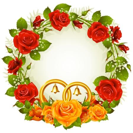 꽃 프레임 벡터 오렌지와 빨간색 흰색 배경에 고립 된 황금 결혼 반지와 장미