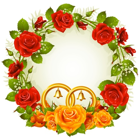bunch of hearts: Flower frame  Vector orange and red rose with golden wedding rings isolated on white background