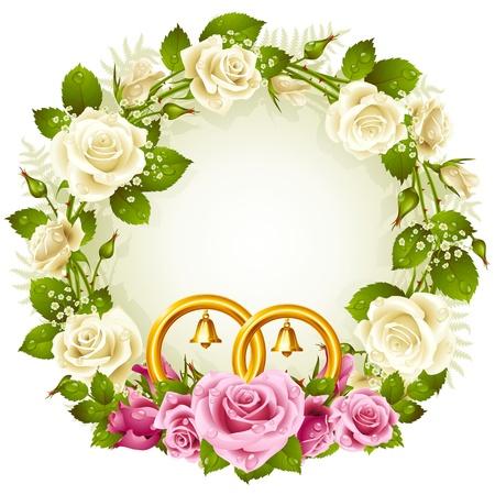 Flower frame  Vector white and pink rose with golden wedding rings isolated on white background