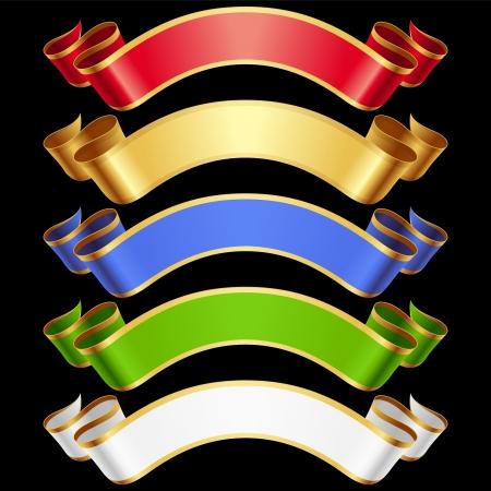 ruban noir: Rubans réglé. Bannières multicolores sur fond noir
