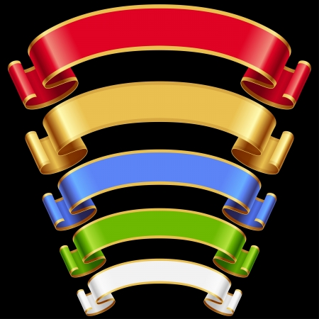 Ribbons set. Multicolored banners isolated on black background Vector