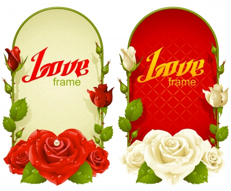 macro flower: Vector rose frames. Wedding, Birthday or Valentine day vertical banners isolated on white background Illustration