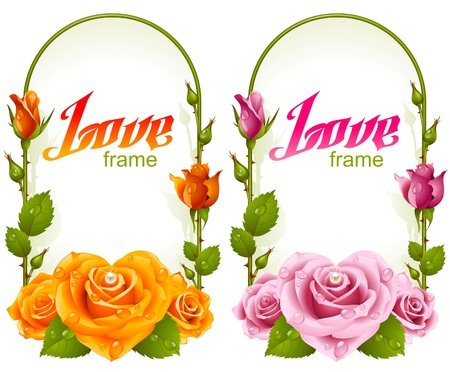 macro flower: rose frames. Wedding, Birthday or Valentine day vertical banners isolated on white background Illustration