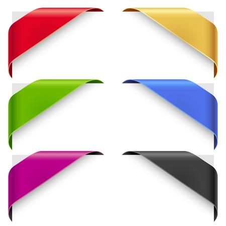 리본: 코너 리본 새, 판매를위한 벡터 세트 매진 상품 일러스트