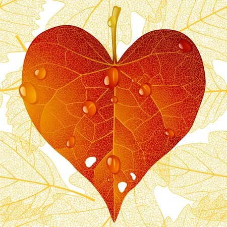 fall in love: fallen red leaf in the shape of heart Illustration