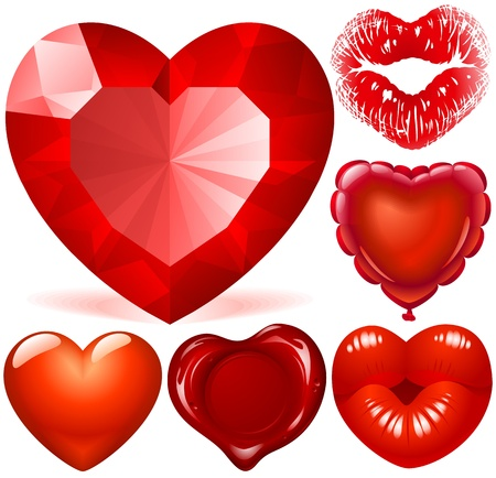 lips kiss: set of Red Hearts