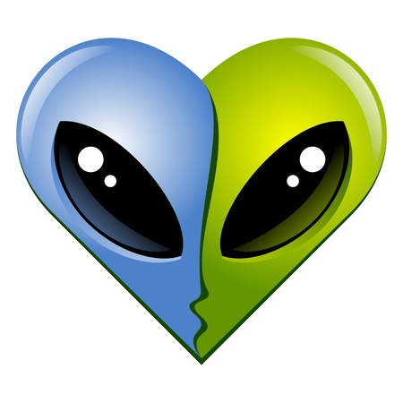 heart shape  Kissing aliens Stock Vector - 15178567