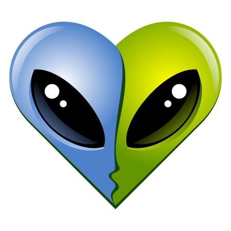 heart shape  Kissing aliens Stock Vector - 15178567