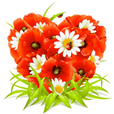 Vector spring flowers in the shape of Heart Illustration