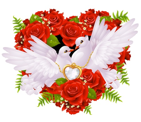 Roses and pigeons Vector