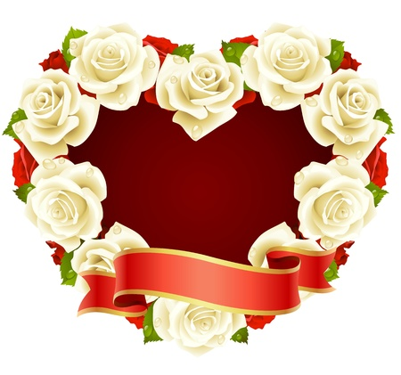 Vector white Rose Frame in the shape of heart Vector