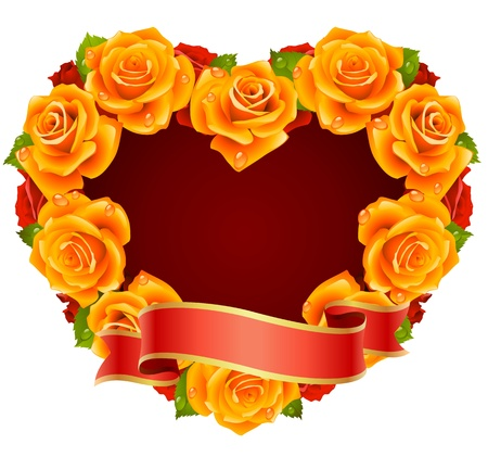 Vector orange Rose Frame in the shape of heart Vector