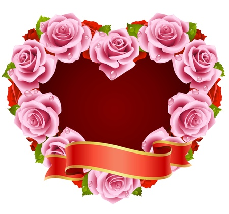 decorations wreaths: Vector pink Rose Frame in the shape of heart Illustration