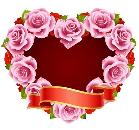 Vector pink Rose Frame in the shape of heart Illustration