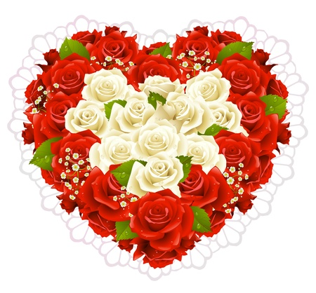 Bunch roses in the shape of heart Stock Vector - 15178583