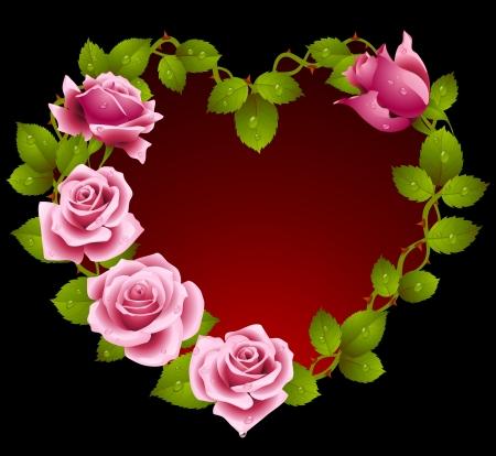 romantique: Cadre de roses roses en forme de coeur Illustration