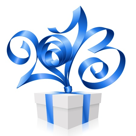 blue ribbon in the shape of 2013 and gift box. Symbol of New Year Vector