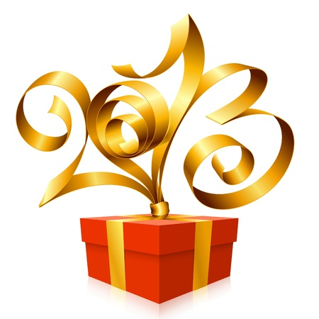 ruban or: ruban d'or en forme de 2013 et bo�te-cadeau. Symbole du Nouvel An