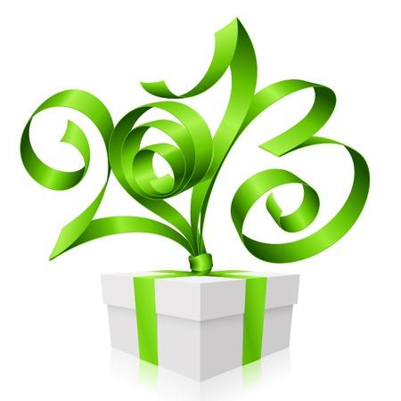 2013 년과 선물 상자 모양의 녹색 리본. 새해의 상징