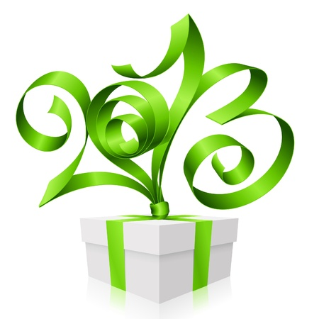 green ribbon in the shape of 2013 and gift box. Symbol of New Year Illustration