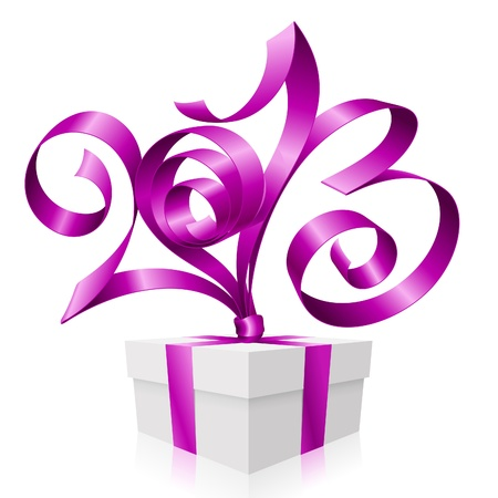Vector purple ribbon in the shape of 2013 and gift box. Symbol of New Year Illustration