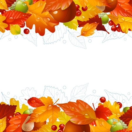 water chestnut: autumn background with fall leaf, chestnut, acorn and ashberry