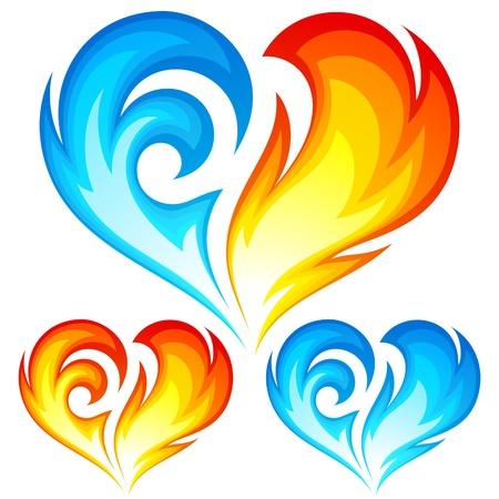 불과 얼음 심장. 사랑의 상징. 일러스트