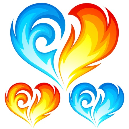 red love heart with flames: Fire and Ice coraz�n. S�mbolo del amor. Vectores