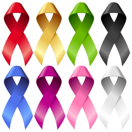 cancer ribbons: Vector breast ribbons set. Red, yellow, green, blue, purple, pink and black bands isolated on white background