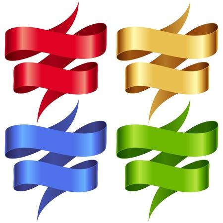 serpentinas: Cintas Vector set. Banderas multicolores aisladas sobre fondo blanco