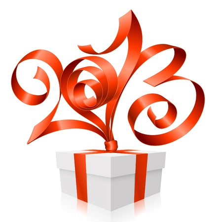 Vector red ribbon in the shape of 2013 and gift box. Symbol of New Year Vector