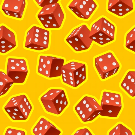 throwing paper: Vector dice seamless background. Red on yellow